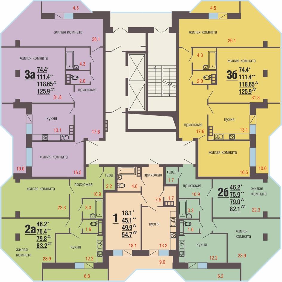 13 -14 этажи