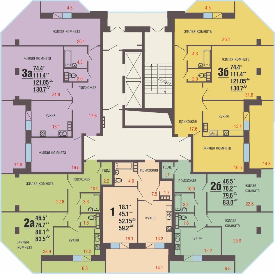 15 -16 этажи