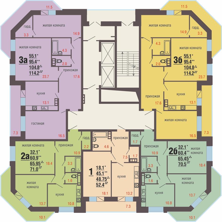 4 - 11 этажи