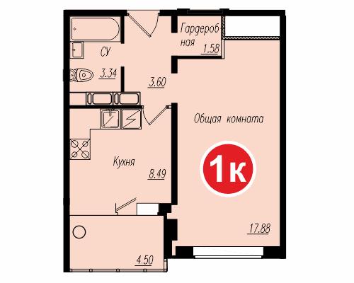 Площадь – 37,05 кв.м., стоимость – 1 382 325 рублей.