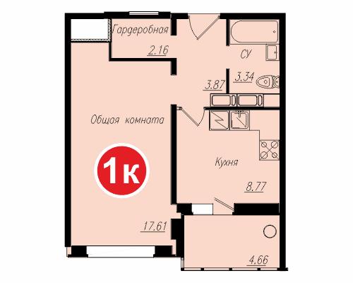 Площадь – 37,98 кв.м., стоимость – 1 416 270 рублей.