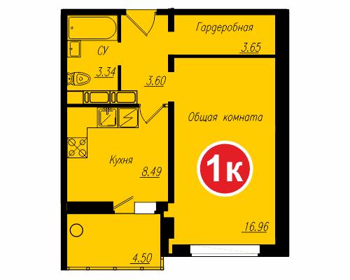 Площадь – 38,19 кв.м., стоимость – 1 423 935 рублей.