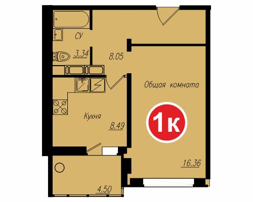 Площадь – 38,38 кв.м., стоимость – 1 430 870 рублей.