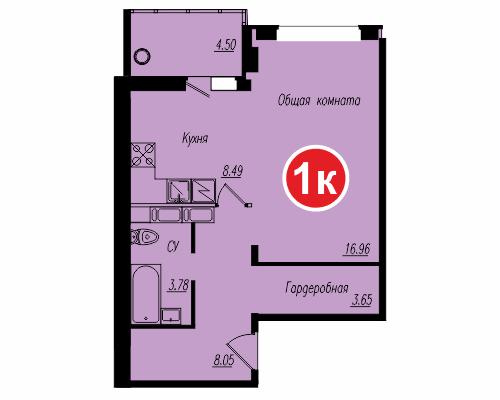 Площадь – 43,07 кв.м., стоимость – 1 602 055 рублей.